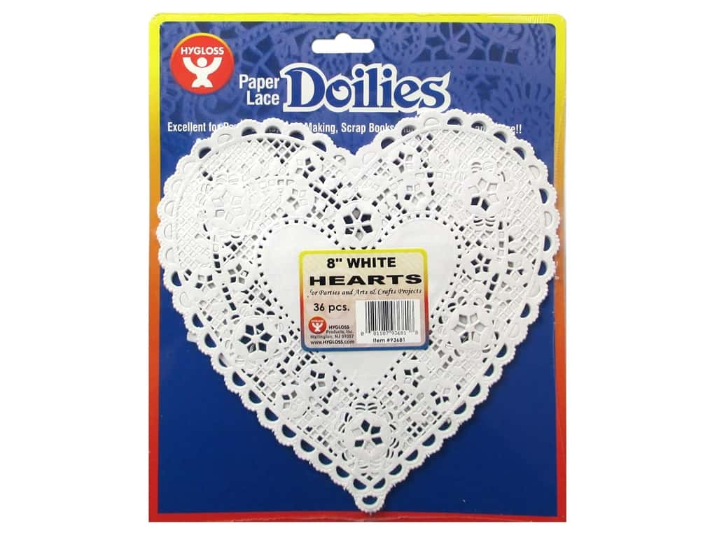 Hygloss Paper Lace Doilies Heart 8 in. White 36 pc.