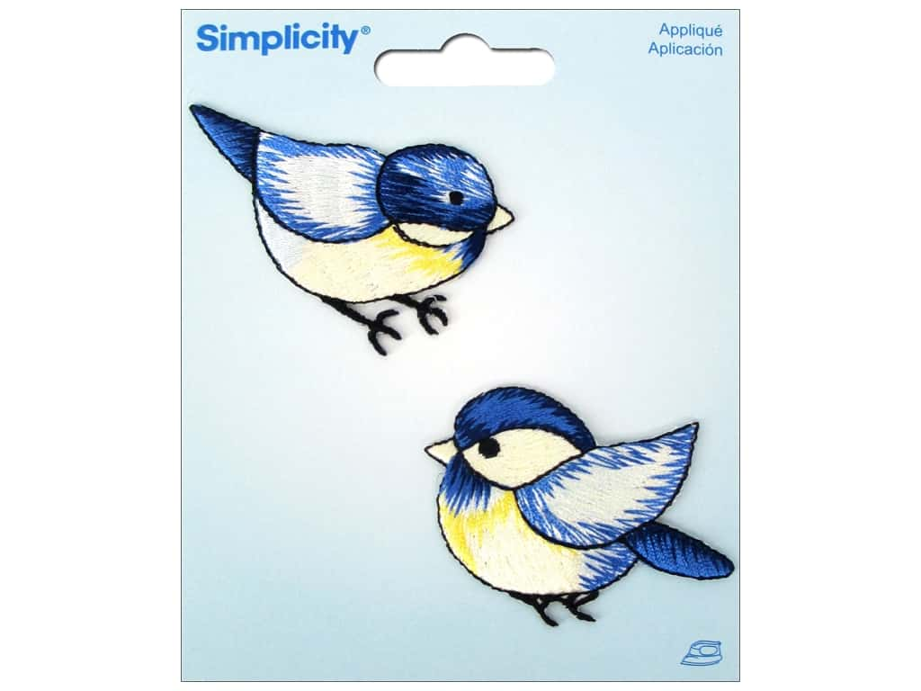 Simplicity Iron On Applique Blue Birds