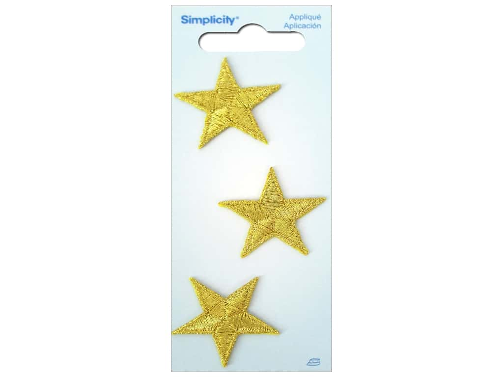 Simplicity Iron On Applique Metallic Gold Stars