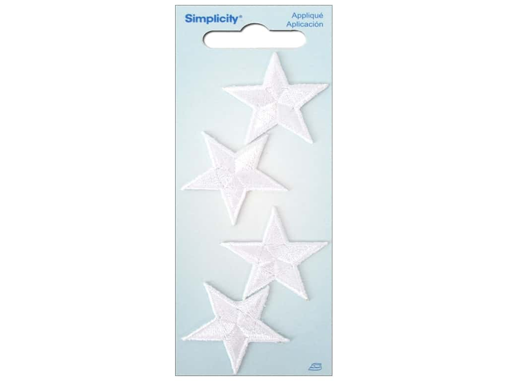 Simplicity Iron On Applique Small White Stars
