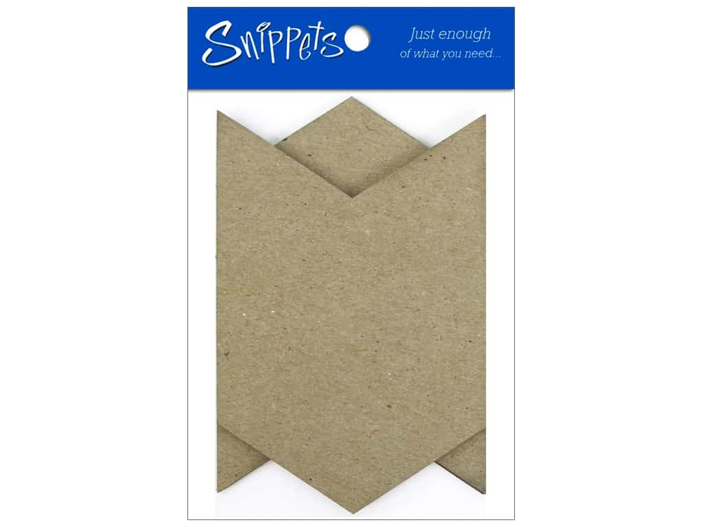 Paper Accents Chipboard Pennants 2 1/2 x 4 in. Mini Chevron 4 pc. Natural