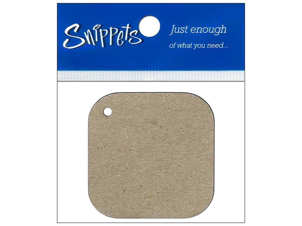 Paper Accents Chipboard Shape Square Tag with Round Corners 4 pc. Natural
