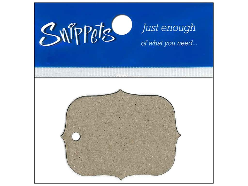 Paper Accents Chipboard Shape Marquee #4 Tag 4 pc. Natural