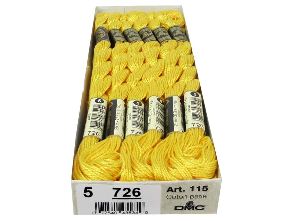 DMC Pearl Cotton Skein Size 5 #726 Light Topaz (12 skeins)