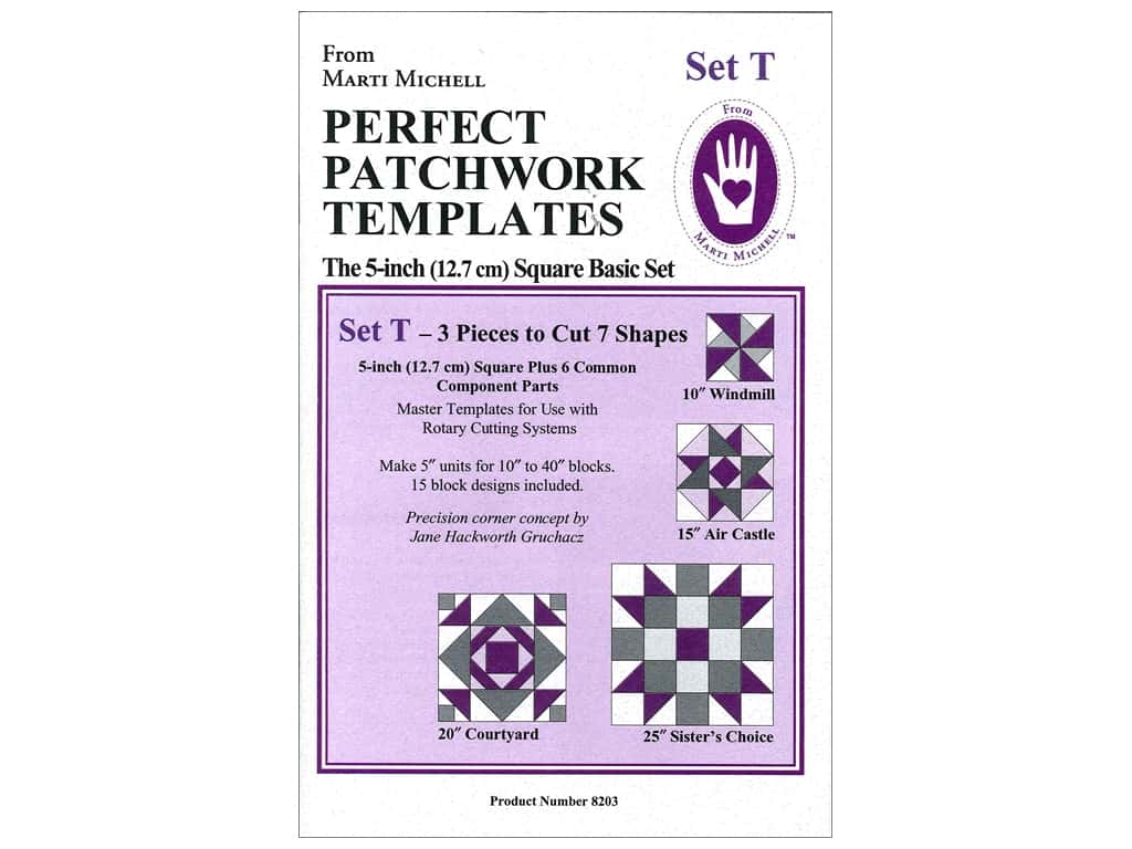 Marti Michell Perfect Patchwork Templates - Set T - 5 in. Square Basic Set