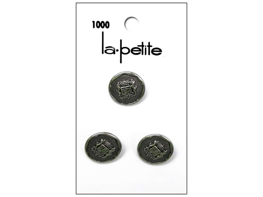 LaPetite Shank Buttons 5/8 in. Antique Silver with Crest #1000 3 pc.