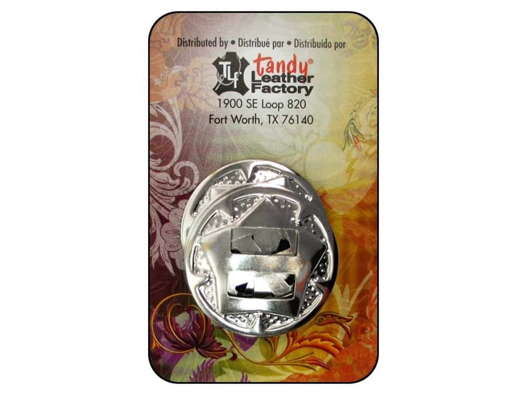 """Leather Factory Concho Round With Star 1"""" Nickel 10pc"""