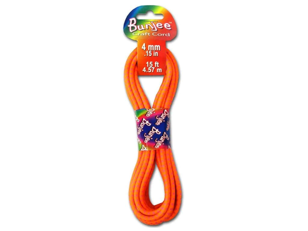 Pepperell 4mm Bungee Cord 15 ft. Neon Orange/Neon Pink