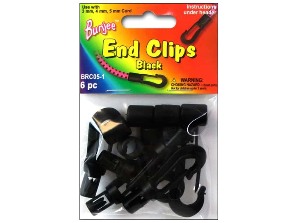 Pepperell Bungee Cord Bracelet End Clips Black 6pc