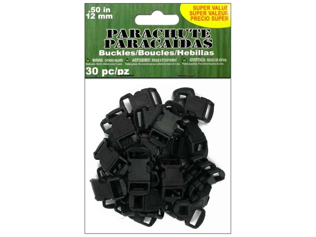 Pepperell Parachute Cord Buckle 1/2 in. Black 30 pc