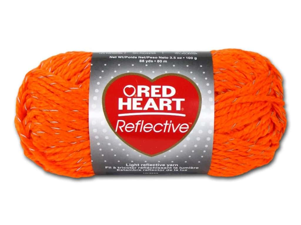 Red Heart Reflective Yarn 88 yd. #8251 Neon Orange