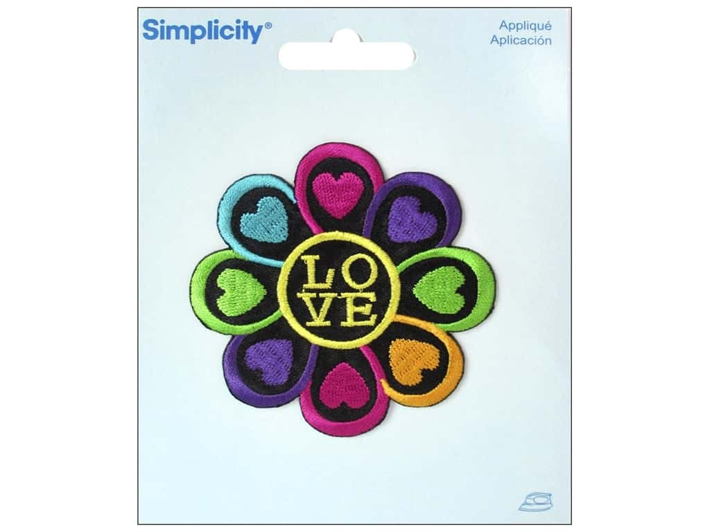 Simplicity Applique Iron On Flower with Love
