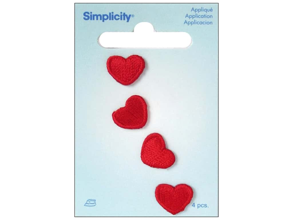 Simplicity Applique Iron On Red Hearts