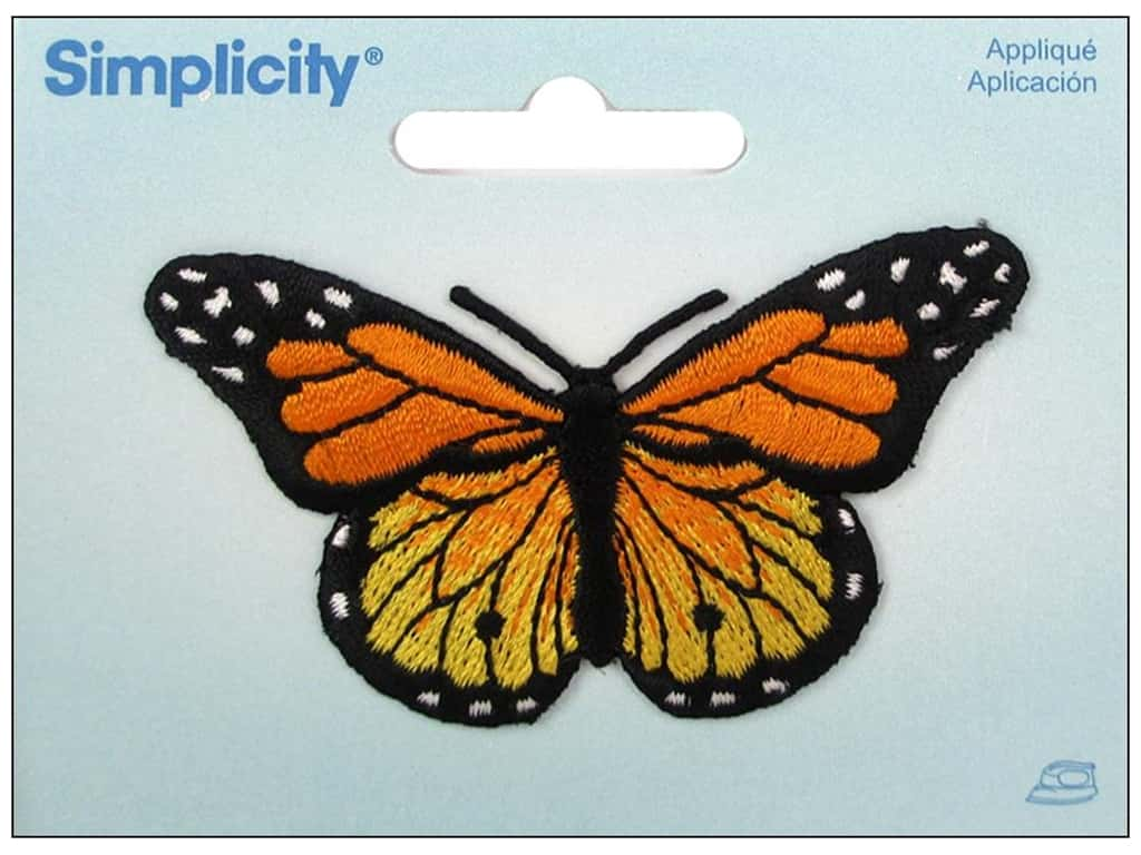 Simplicity Applique Iron On Butterfly Yellow/Orange
