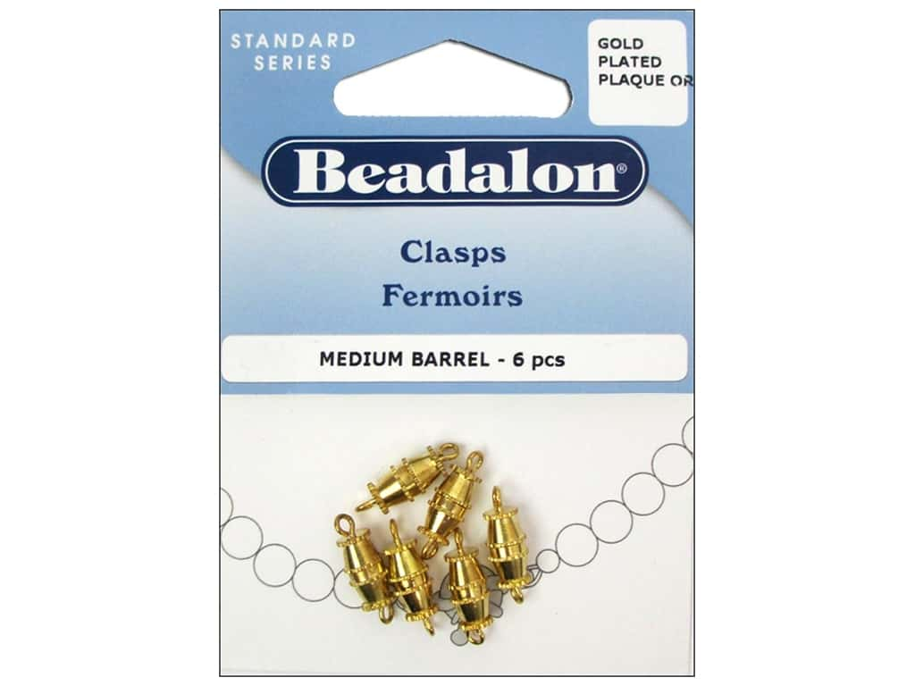 Beadalon Barrel Clasps 9.5 mm Medium Gold 6 pc.