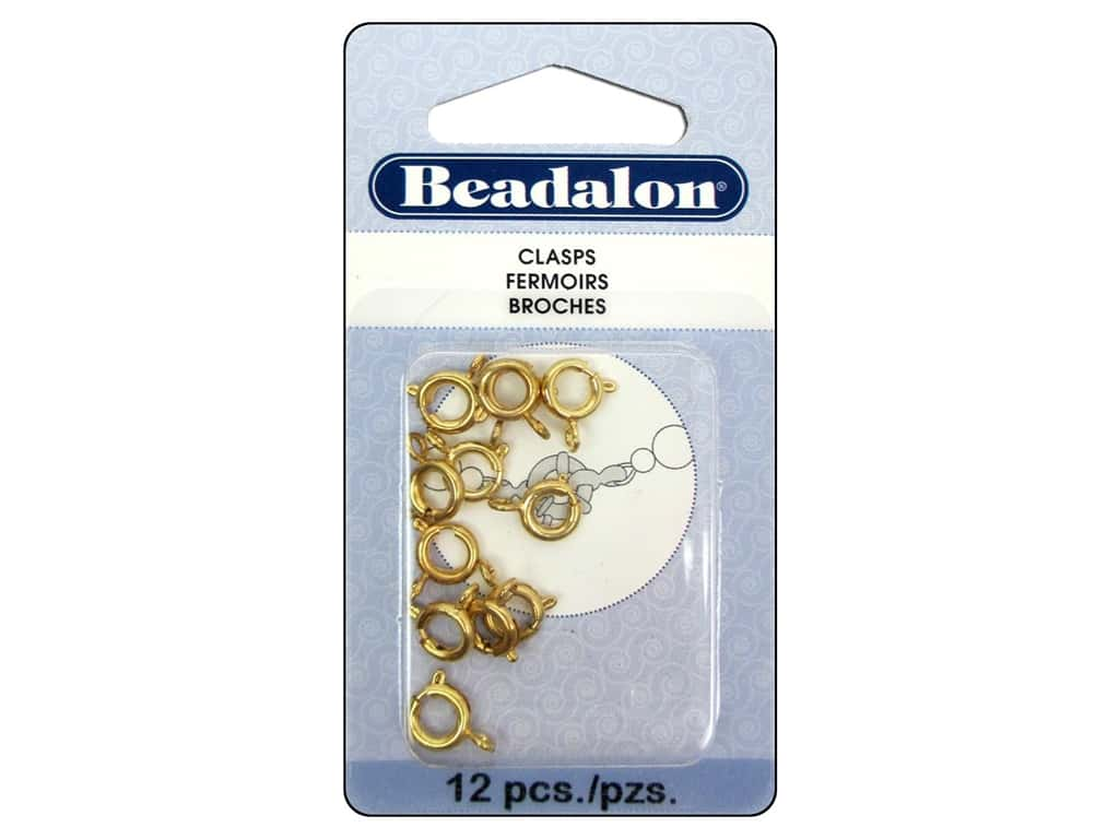 Beadalon Spring Ring Clasps 7 mm Gold 12 pc.