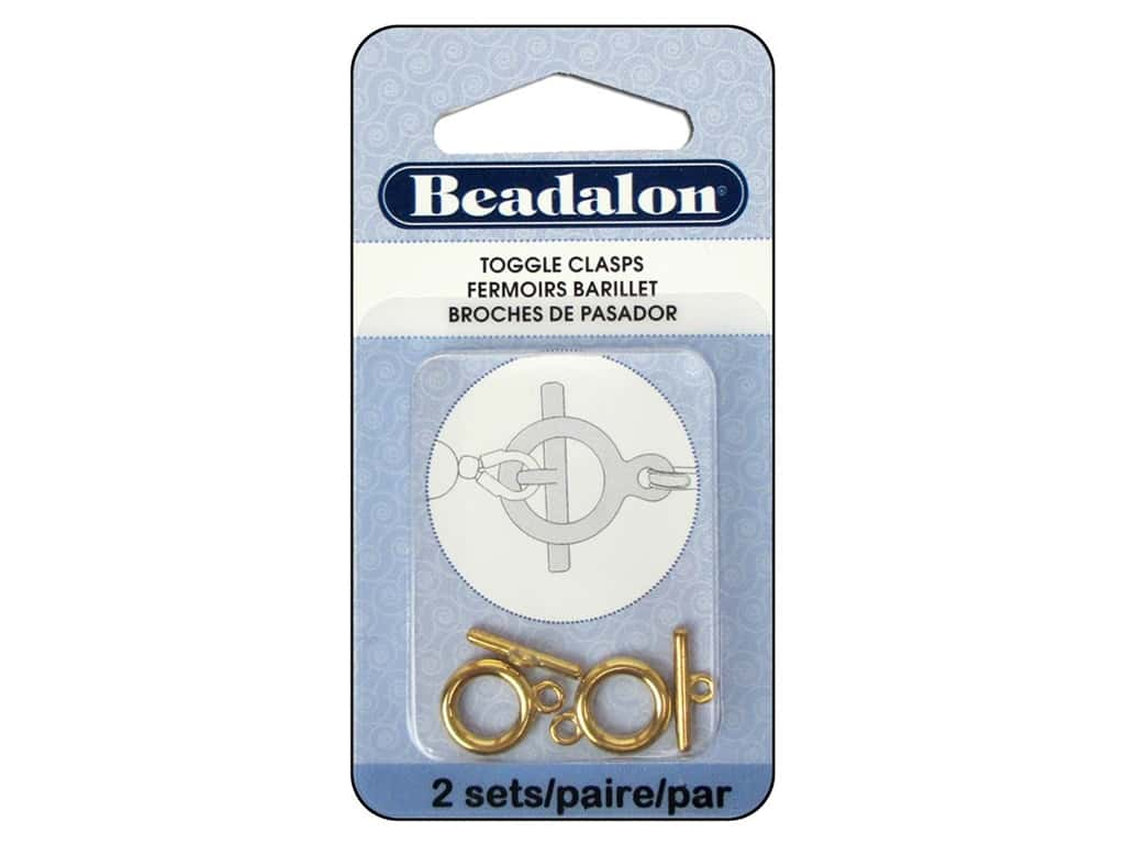 Beadalon Toggle Clasps 10.4 mm Medium Gold 2 pc.