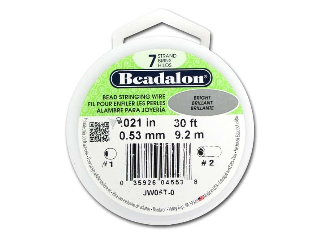 Beadalon 7 Strand Bead Wire .021 in. Bright Silver 30 ft.