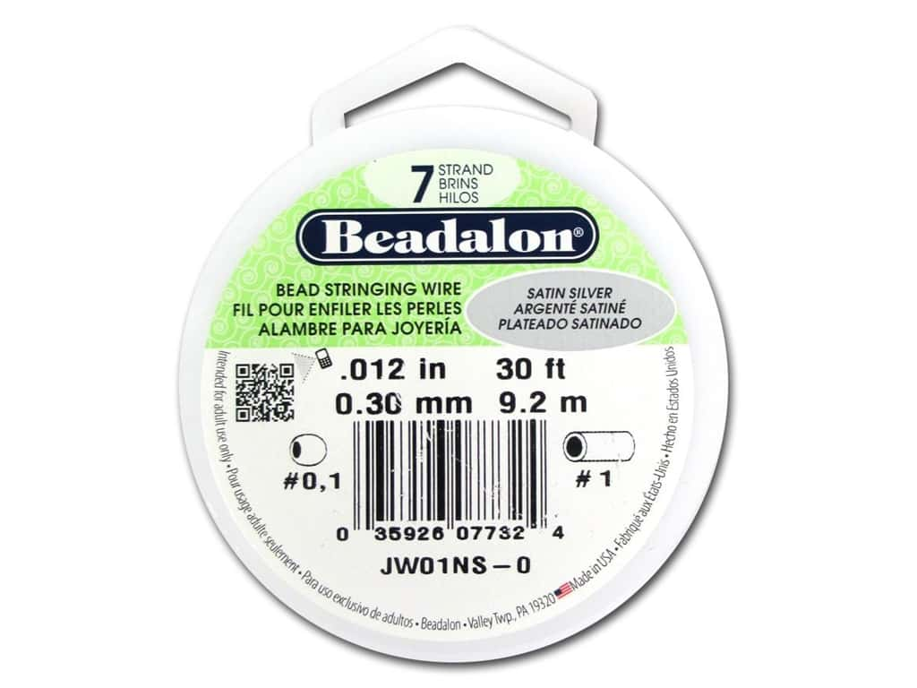 Beadalon 7 Strand Bead Wire .012 in. Satin Silver 30 ft.