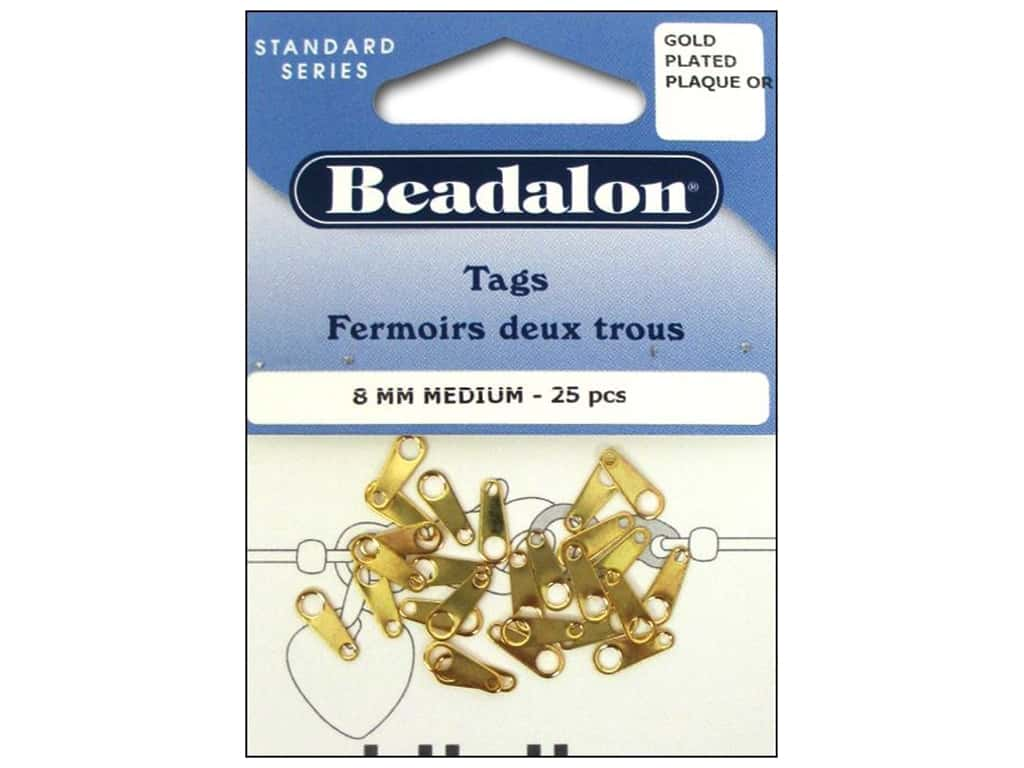 Beadalon Jewelry Tags 25 pc. 8 mm Medium Gold Color