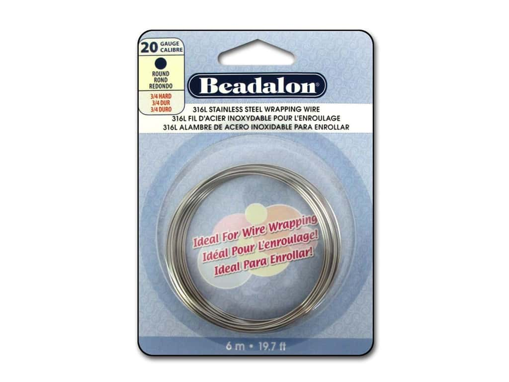 Beadalon 316L Stainless Steel Wrapping Wire Round 20 ga 19.7 ft.