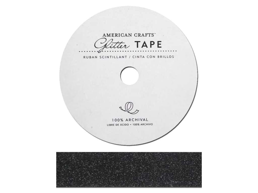 American Crafts Glitter Tape 7/8 in. Black
