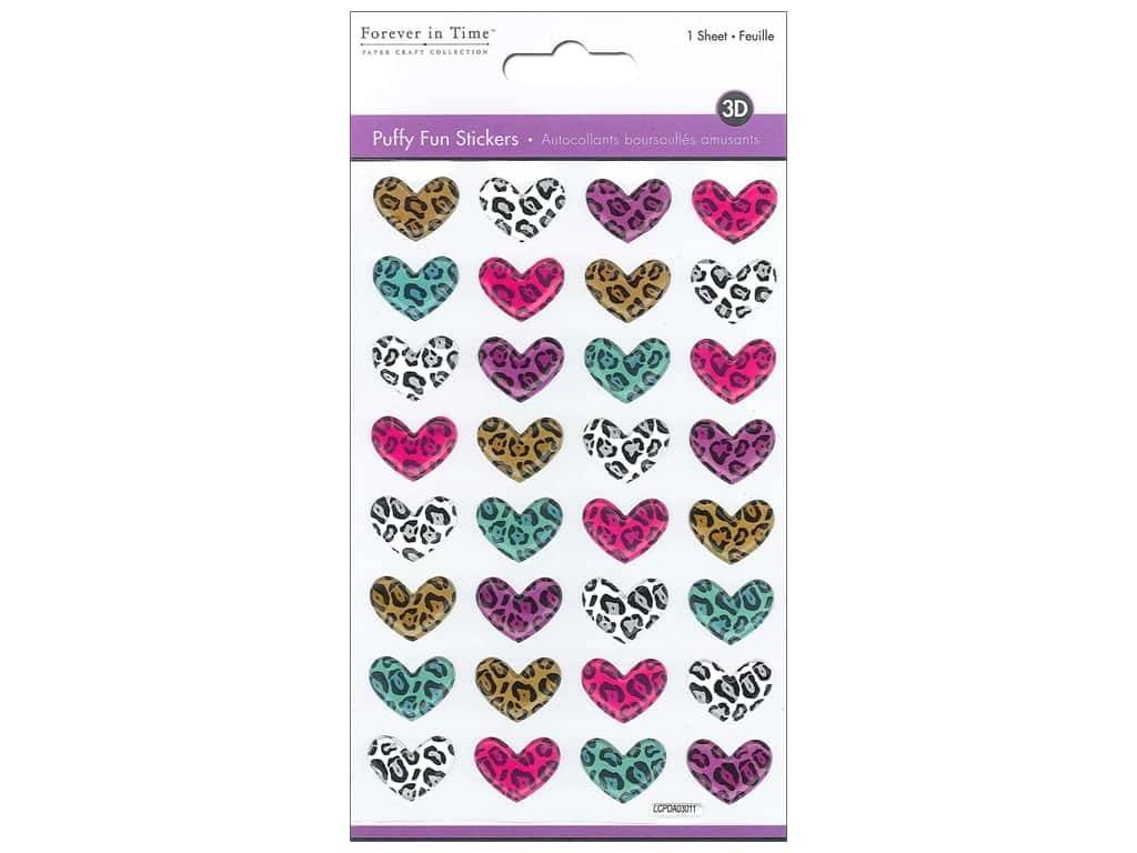 Multicraft Sticker Puffy Safari Hearts