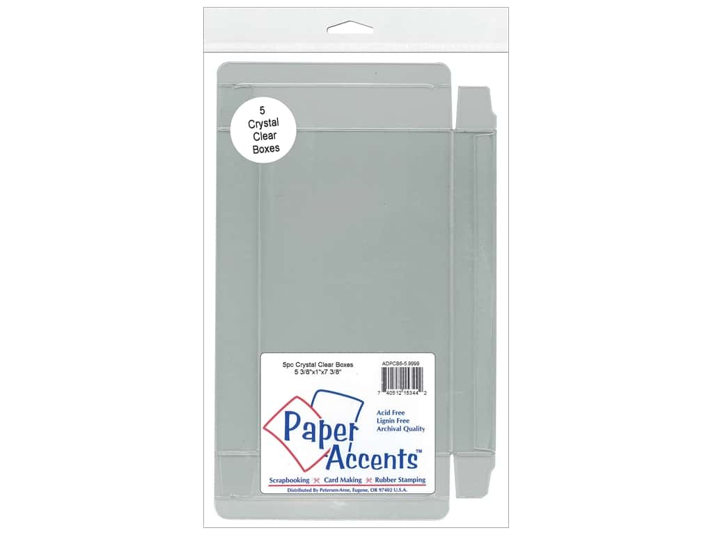 Paper Accents Crystal Clear Boxes 5 3/8 x 1 x 7 3/8 in. 5 pc.