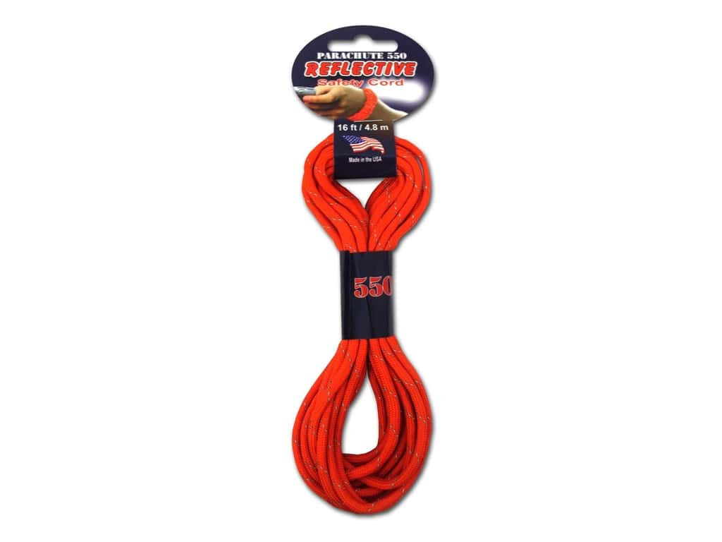Pepperell 550 Parachute Cord 16 ft. Reflective Orange