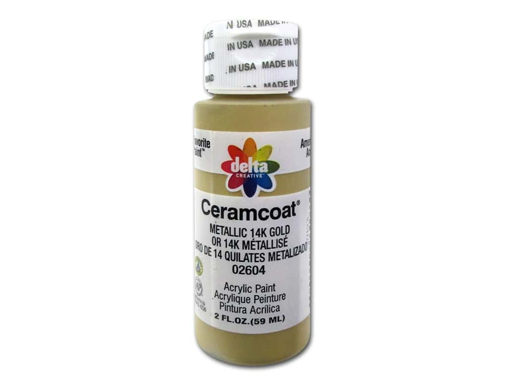 Delta Ceramcoat Acrylic Paint - #2604 Metallic 14K Gold 2 oz.