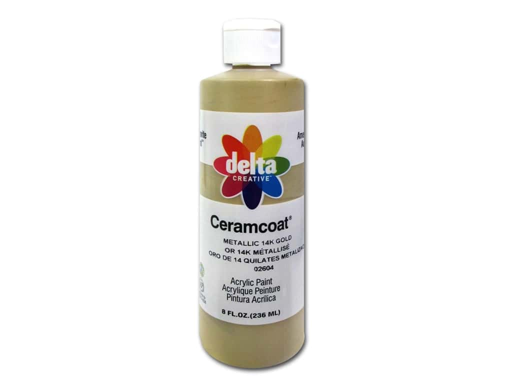 Delta Ceramcoat Acrylic Paint  8 oz.  #2604 Metallic 14K Gold