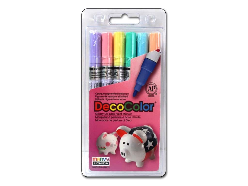 Uchida Decocolor Paint Marker Set - Fine Tip - Pastels 6 pc.