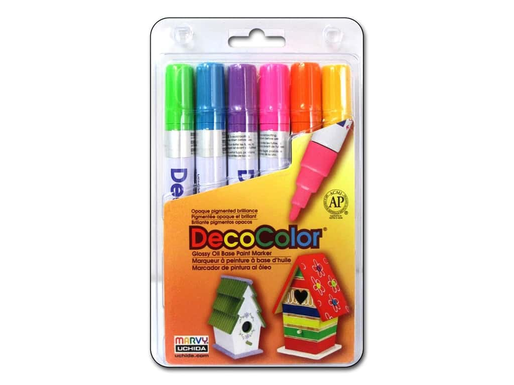 Uchida Decocolor Paint Marker Set - Broad Tip - Brights 6 pc.