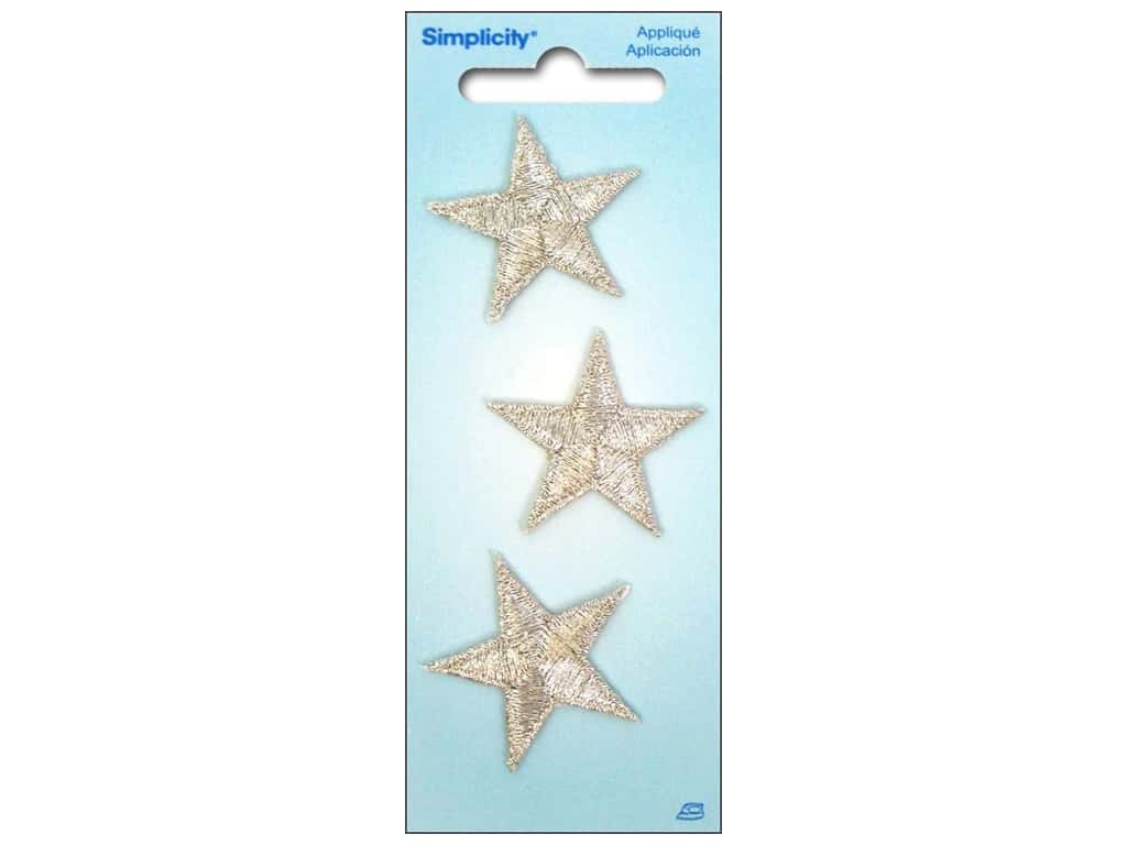 Simplicity Applique Iron On Metallic Stars Silver