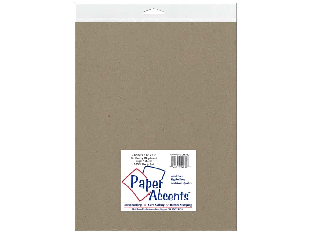 Paper Accents Chipboard 8 1/2 x 11 in. 32 pt. Extra Heavy Natural 2 pc.