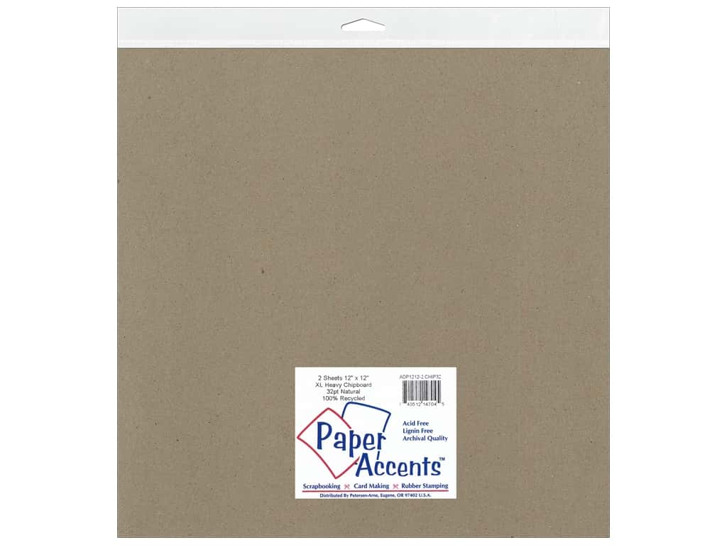 Paper Accents Chipboard 12 x 12 in. 32 pt. XL Heavy Natural 2 pc.