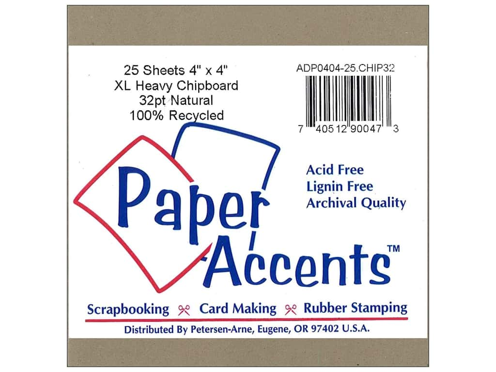 Paper Accents Chipboard 4 x 4 in. 32 pt. XL Heavy Natural (25 pieces)