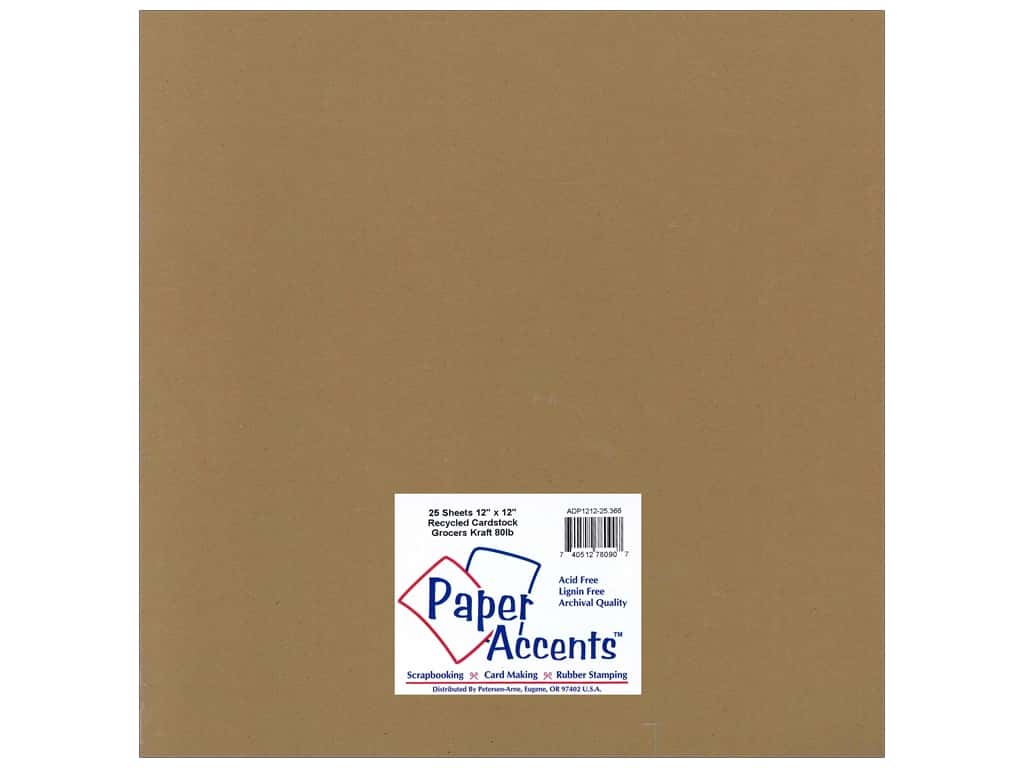 Paper Accents Cardstock 12 x 12 in. #366 Recycled Grocers Kraft - 80 lb. (25 sheets)