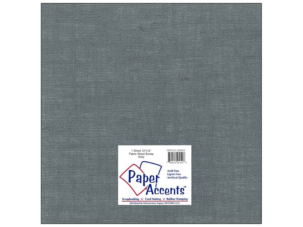 Paper Accents Fabric Sheet 12 x 12 in. Burlap Grey