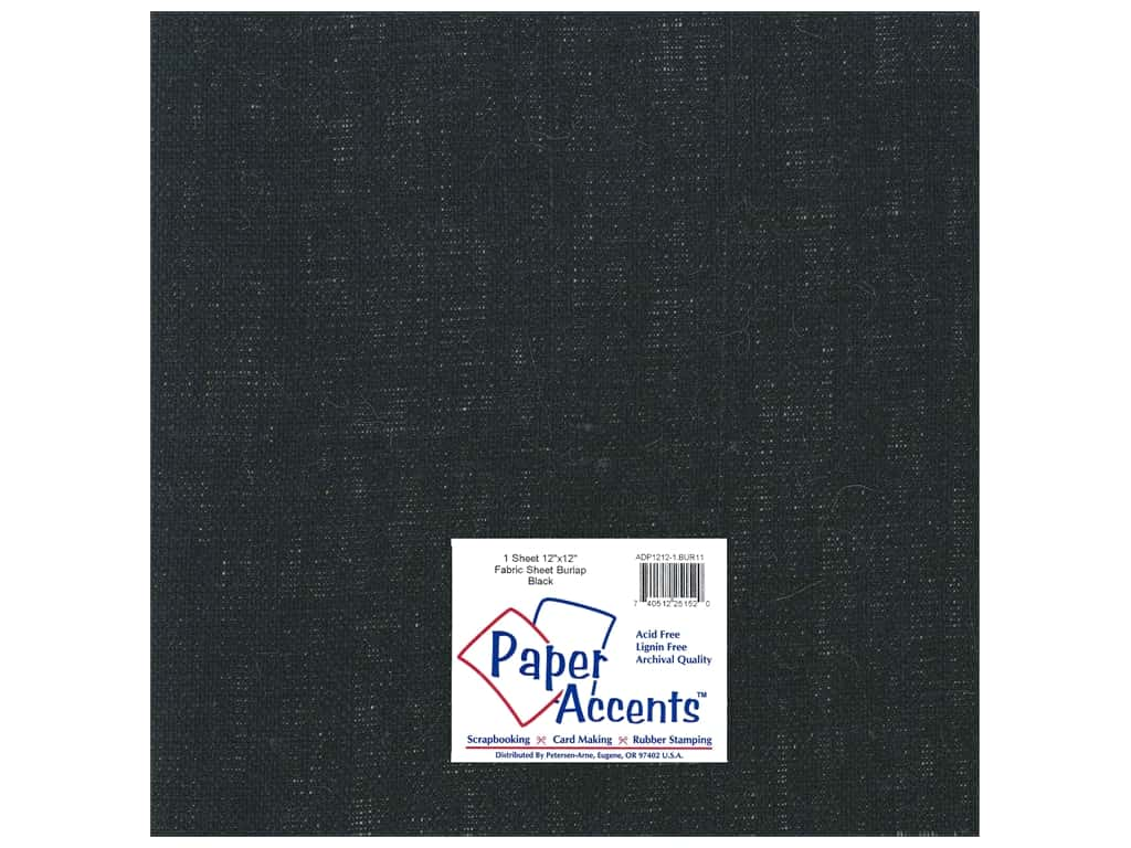 Paper Accents Fabric Sheet 12 x 12 in. Burlap Black
