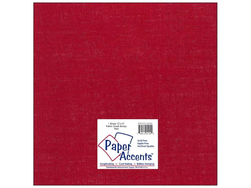Paper Accents Fabric Sheet 12 x 12 in. Burlap Red