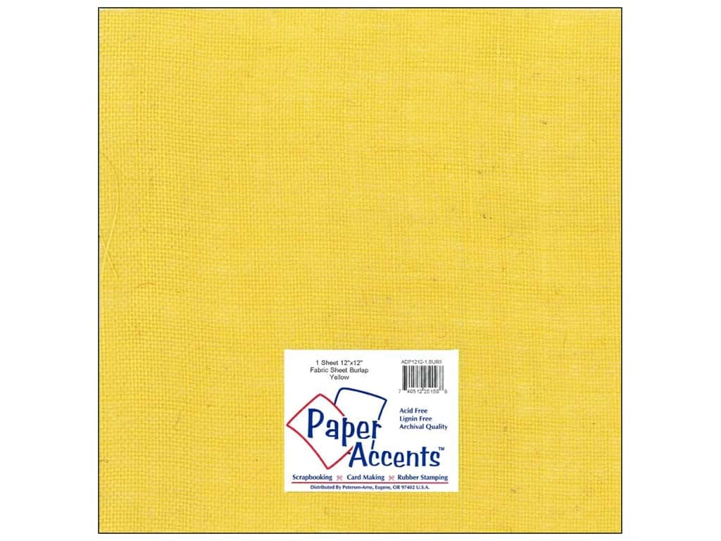 Paper Accents Fabric Sheet 12 x 12 in. Burlap Yellow