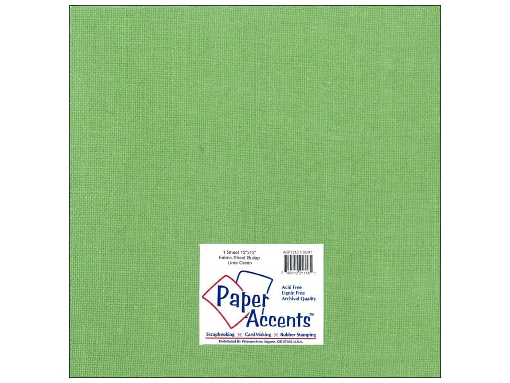 Paper Accents Fabric Sheet 12 x 12 in. Burlap Lime Green