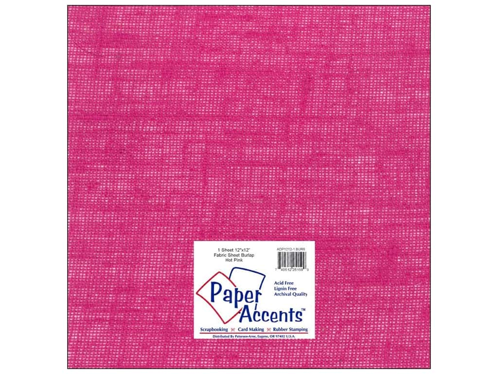 Paper Accents Fabric Sheet 12 x 12 in. Burlap Hot Pink