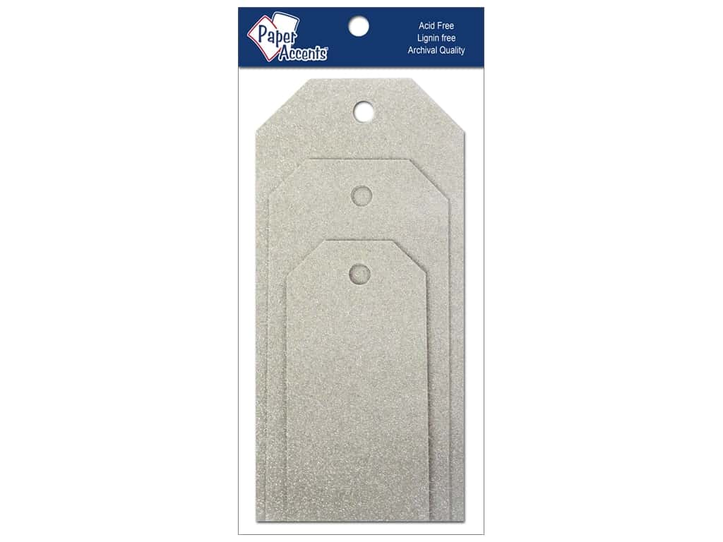 Craft Tags by Paper Accents Assorted 10 pc. Glitz Platinum