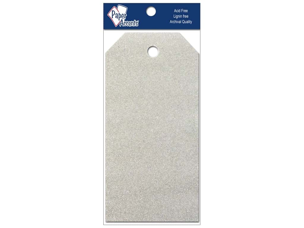 Craft Tags by Paper Accents 2 1/8 x 4 1/4 in. 10 pc. Glitz Platinum