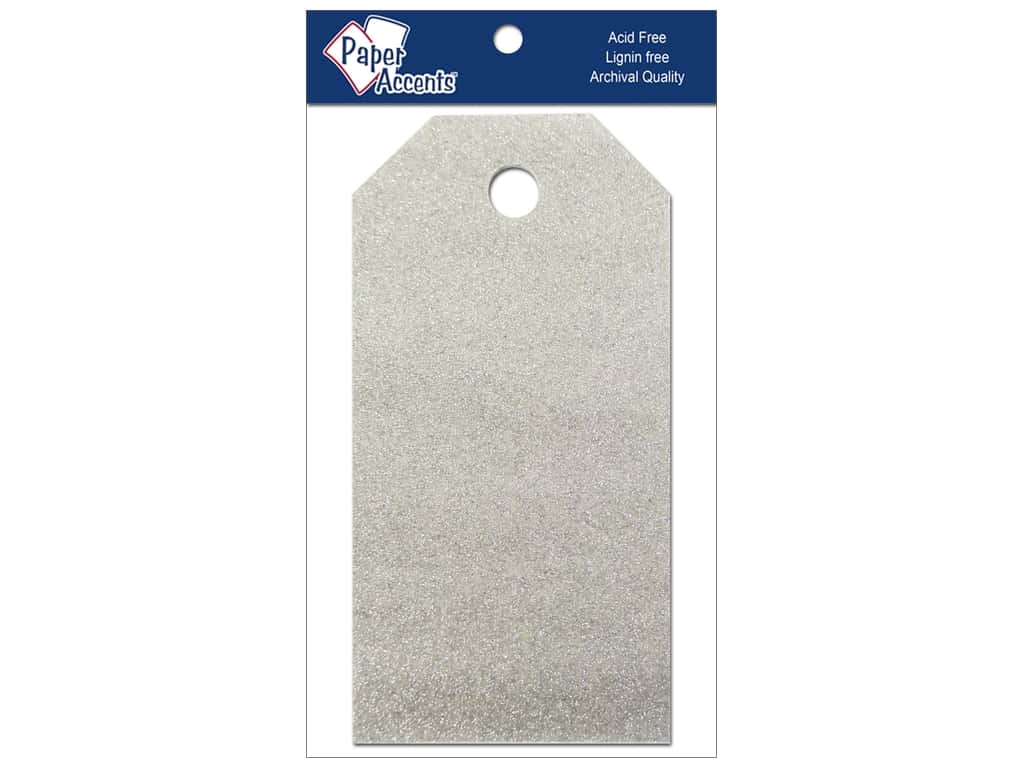 Craft Tags by Paper Accents 1 5/8 x 3 1/4 in. 10 pc. Glitz Platinum