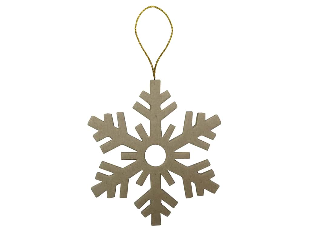 PA Paper Mache Flat Snowflakes Ornament 3 3/4 in.