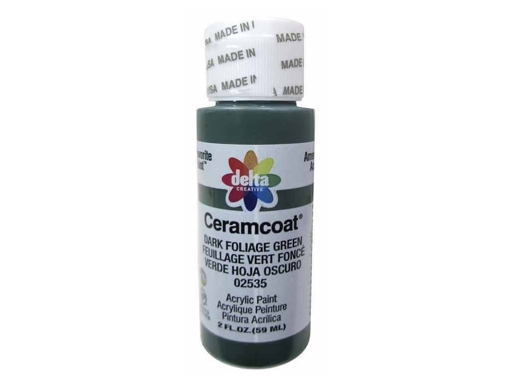 Ceramcoat Acrylic Paint by Delta 2 oz. #2535 Dark Foliage Green