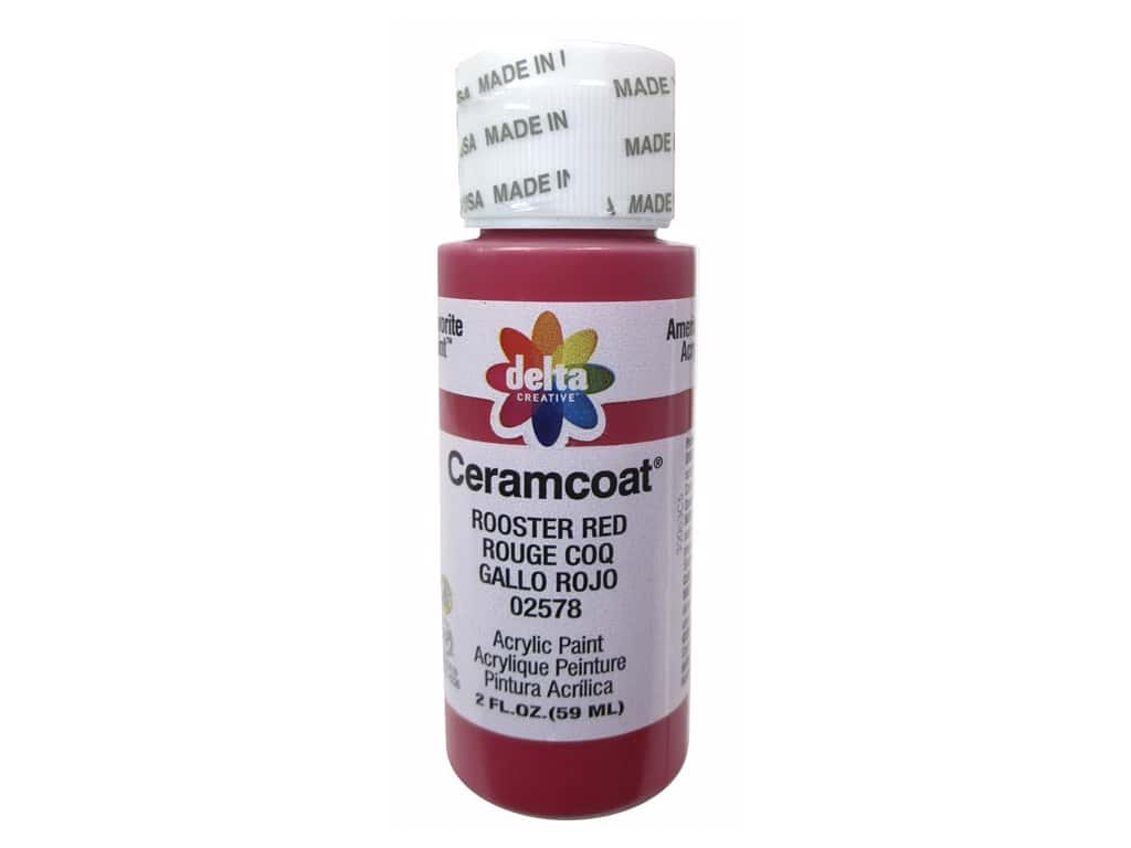 Delta Ceramcoat Acrylic Paint 2 oz. #2578 Rooster Red